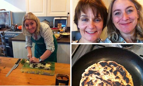 Emma Kennedy in the kitchen, with Livvy, and the fruits of her labours
