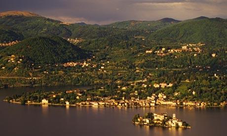 The view towards Sacro Monte across Lake Orta, Italy