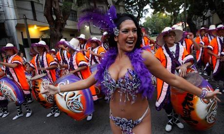 Carnival parade in Montevideo, Uruguay.