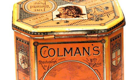 Vintage tin box of Colman's mustard