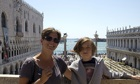 Theodora and Zac in St Mark's Square, Venice