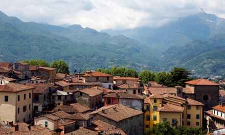 The medieval hilltop town of Barga as seen from its cathedral