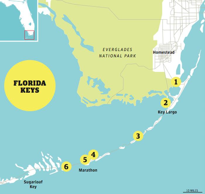 florida keys beaches map