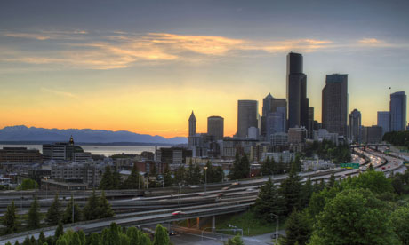 Seattle Washington Skyline and Freeway at Sunset