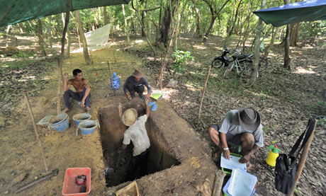 Workers on a dig at Angkor Wat