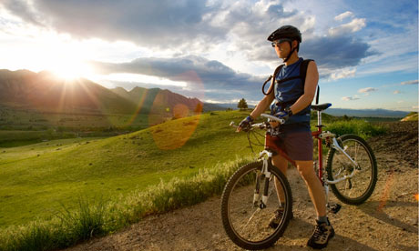 A mountain biker at sunset in Boulder, Colorado