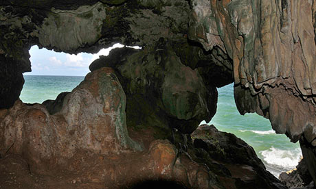 Looking out to sea from Crusoe's Cave.