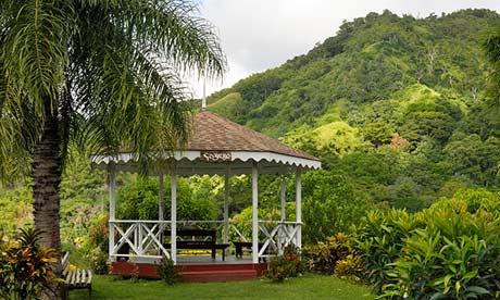 Pavillion in the cocoa estate near Roxborough, Tobago.