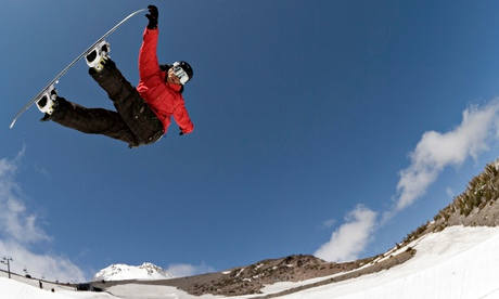 Snowboarder Jonathan Cheever at Mt Hood Meadows ski resort, Oregon
