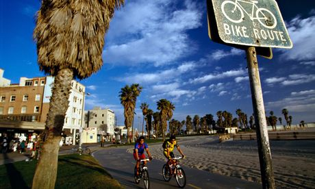 Biking, Venice Beach, Santa Monica, Los Angeles, California, USA