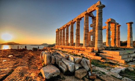 Cape Sounion at sunset, Athens, Greece