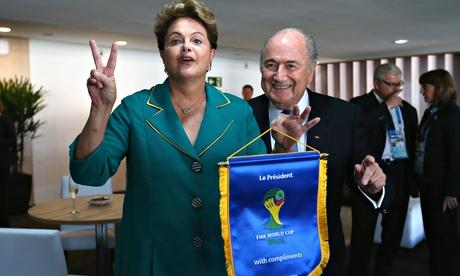 Brazilian president Dilma Rousseff with Sepp Blatter