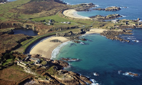 An aerial view of  sandy corblets beach,  Alderney, Channel Islands