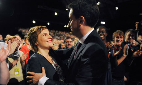 Ed Miliband embraces his partner Justine Thornton