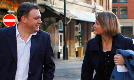 Ed Balls walks with his wife Yvette Cooper
