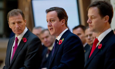 Gus O'Donnell, David Cameron and Nick Clegg