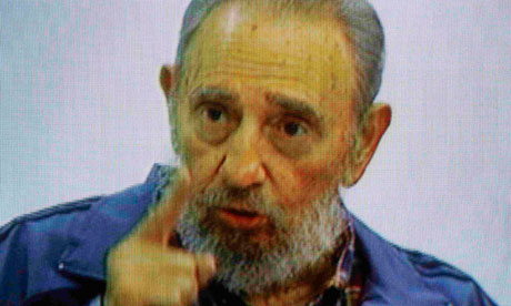 Former Cuban leader Fidel Castro speaks on Cuban television