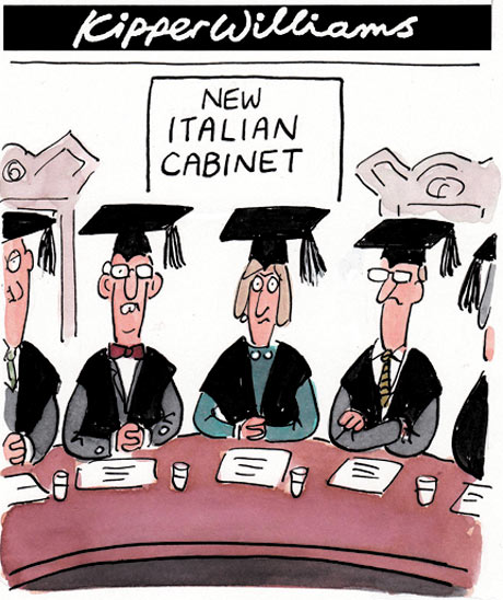 technocrats take over italian cabinet cartoon kipper williams