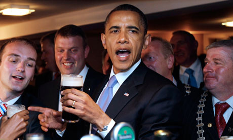 Barack Obama drinks Guinness during visit to Ireland