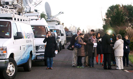 Members of the media at the scene of the Newtown shootings
