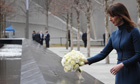 Samantha Cameron lays flowers at Ground Zero memorial