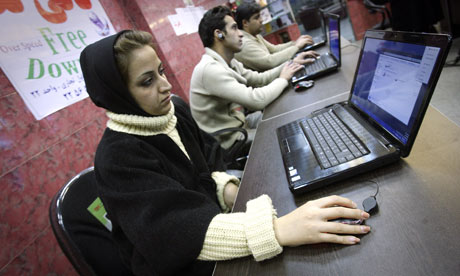 Iranians work in an Internet cafe in Tehran. President Obama authorised cyber-attacks on the country's nuclear programme. Photograph: KeystoneUSA-ZUMA, Rex Features