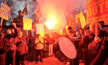 Protests in Dublin at austerity measures