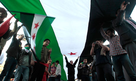 Syrian nationals living in Cairo protest in Tahrir Square