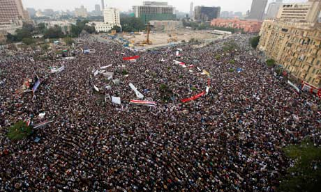 Protesters gather in Tahrir Square, Cairo, Egypt