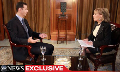 Syrian president Bashar Al-assad talks to Barbara Walters on ABC news