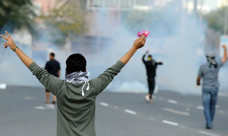 protesters clash with police near Salmaniya Medical Complex, in Manama, Bahrain