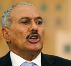 President Ali Abdullah Saleh of Yemen addresses a news conference in Sana'a