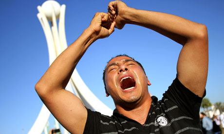 Anti-government demonstrators rally as they re-occupy Pearl roundabout in Manama, Bahrain
