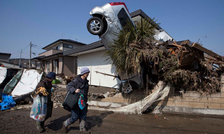 The aftermath of the earthquake and tsunami in Shintona, Japan