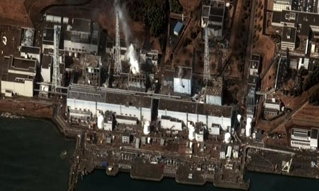 A satellite image of Fukushima Dai-ichi nuclear power plant complex taken onWenesday 16th March 2011