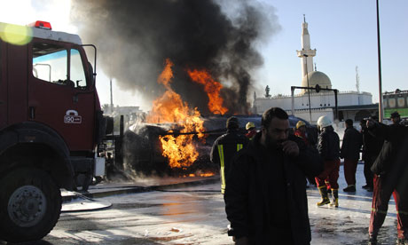A petrol tanker explodes near the Gadaffi compound in Tripoli