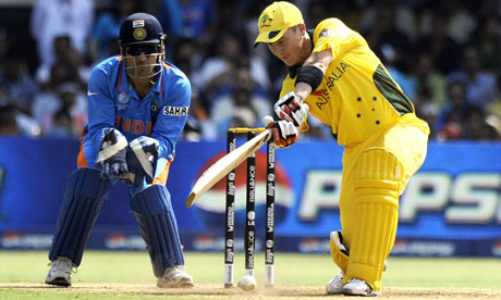 MS Dhoni of India and Brad Haddin of Australia in the ICC cricket world cup quarter final