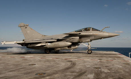 A French Rafale jet fighter takes off from the aircraft carrier Charles de Gaulle