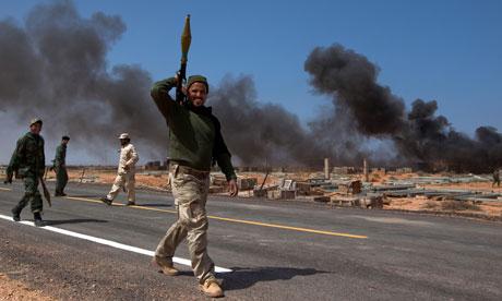 rebel forces advance through Wadi Harawa, Libya