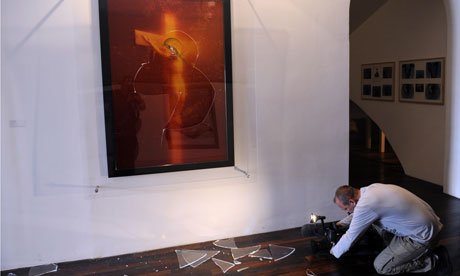 Immersion Piss Christ by US artist Andres Serranoafter being attacked by catholic activists