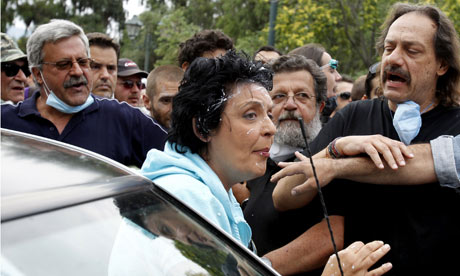 Greek communist party MP Liana Kanelli attacked with yoghurt
