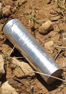 A metal cannister found by Mohammed and Eid Da'ajani near their home