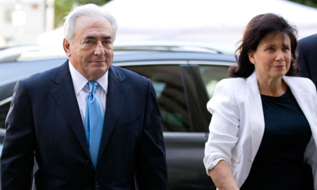 Dominique Strauss-Kahn and his wife Anne Sinclair arrive at the New York State Supreme Courthouse