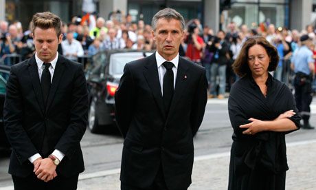Norwegian PM Jens Stoltenberg arrives for a memorial service at a cathedral in Oslo, Norway