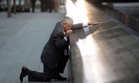 A grieving father at the 9/11 memorial in New York