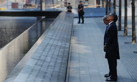 George W. Bush and President Barack Obama visit the 9/11 memorial