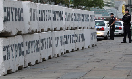 concrete barricades set up in front of the United Nations headquarters in New York