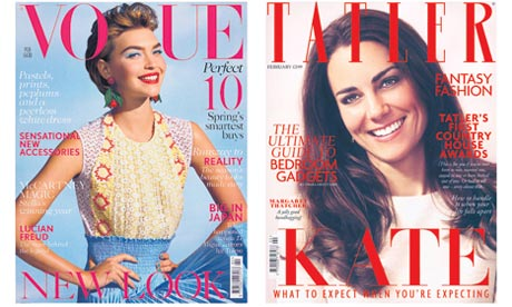 February 2012 editions of Vogue and Tatler magazines