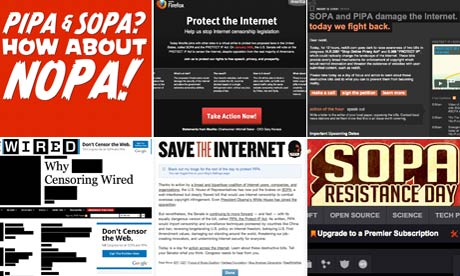Websites protest against SOPA and PIPA on JAnuary 17 2012