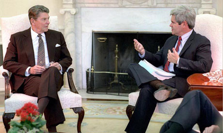 President Ronald Reagan meeting with Congressman Newt Gingrich in 1985.